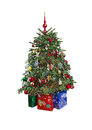 Christmas tree with ornaments isolated and gifts on white background Royalty Free Stock Photography