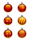 Christmas tree ornaments a set of six baubles with varying patterns Royalty Free Stock Images