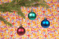 Christmas tree outfit christmas toys green red green blue wallpaper background Royalty Free Stock Photo