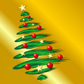 Christmas tree over gold Stock Photography