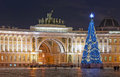 Christmas tree on Palace Square. Saint-Petersburg. Russia Royalty Free Stock Photo