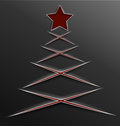 Christmas tree paper cut lines cross vector illustration of red and star made of with realistic shadow Stock Photography