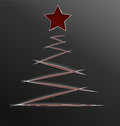 Christmas tree paper cut lines vector illustration of red and star made of with realistic shadow Stock Photos