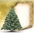 Christmas tree and paper sheet on golden background Royalty Free Stock Photo