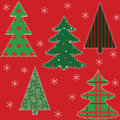 Christmas tree patchwork fabric Royalty Free Stock Image
