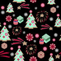 Christmas tree pattern on black background with gifts boxes Stock Photos
