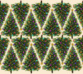 Christmas tree pattern with ornaments and a gold stars as a seamless border design for the winter holiday season as a holiday Stock Photo