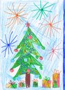Christmas tree pencil illustration with gift boxes and fireworks, childlike drawing