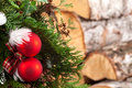 Christmas tree and pieces of wood closeup Stock Photo