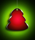 Christmas tree with place for text over green background red Royalty Free Stock Photo