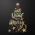 Christmas tree poster of gold glitter stars ornament Royalty Free Stock Photo