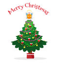 Christmas tree with pot and angel Royalty Free Stock Photo