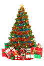 Christmas tree and presents isolated on white Royalty Free Stock Photo