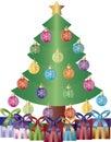 Christmas Tree Presents Ornaments Illustration Royalty Free Stock Photo