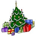 Christmas tree with presents xmas cartoon illustration vector Royalty Free Stock Image