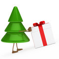 Christmas tree push gift Royalty Free Stock Images