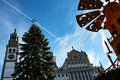 Christmas tree and pyramid at town hall low-angle Royalty Free Stock Photo