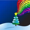 Christmas Tree rainbow Vector Stock Image