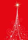 Christmas tree on red background Royalty Free Stock Images