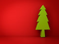 Christmas tree on red background for christmas decoration Royalty Free Stock Photo