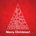Christmas tree on a red background vector illustration Royalty Free Stock Image