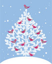 Christmas tree and red birds Stock Image