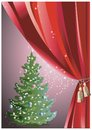 Christmas tree with red curtain colorful vector snowy on scene behind Royalty Free Stock Photography