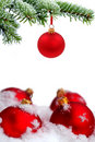 Christmas tree and red glass balls Stock Image