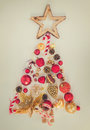 Christmas tree in red and gold Royalty Free Stock Photo