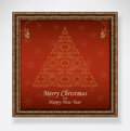 Christmas tree red in golden frame with ornament and merry greeting elegant vector illustration Royalty Free Stock Images
