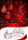 Christmas tree from ribbon on red background Royalty Free Stock Photo