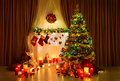 Christmas Tree Room, Xmas Home Night Interior, Fireplace Lighs Royalty Free Stock Photo