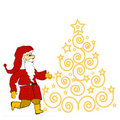 Christmas tree  and Santa Claus Royalty Free Stock Photography