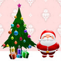 Christmas tree and santa claus Royalty Free Stock Image