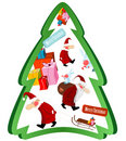 Christmas tree with Santa Claus and gifts Royalty Free Stock Photography