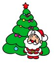 Christmas tree Santa Claus mini cartoon illustration Royalty Free Stock Photo