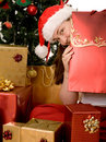 Christmas tree with santa and gifts Stock Images