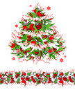 Christmas tree and seamless border Stock Photography