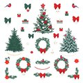 Big vector set of Christmas decorations Christmas tree, wreath, border, birds, bells, balls and gift Royalty Free Stock Photo