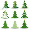 Christmas Tree Set Stock Images