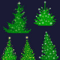 Christmas tree set, elements for design Stock Photo