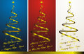 Christmas tree set with golden decor Royalty Free Stock Photos