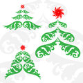Christmas tree set of three trees Stock Photo