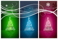 Christmas tree set vector background Stock Image