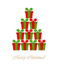 Christmas tree shape made of presents vector illustration Stock Images