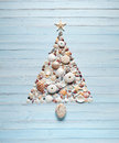Tropical Christmas Tree Shells Background Royalty Free Stock Photo