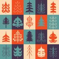 Christmas tree silhouette design set concept tree icon collection bright colors vector illustration graphic editable for Stock Images