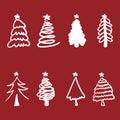 Christmas tree silhouette design vector set. Royalty Free Stock Photo