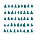 Christmas tree silhouette design vector set. Concept tree icon c Royalty Free Stock Photo