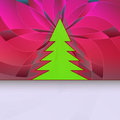 Christmas tree silhouette on pink floral Royalty Free Stock Photography